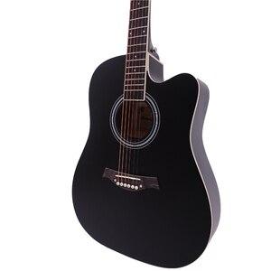 Image 4 - 38/41 cal folkowa gitara akustyczna dla początkujących 6 struny Basswood z zestawów czarny białe drewno brązowy gitara AGT16
