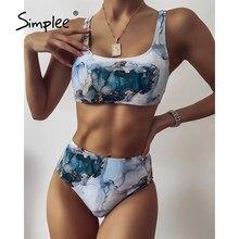 Swimwear Sport Simplee Beach-Wear Bathing-Suit Bandeau Marble Print Push-Up Sexy High-Waist
