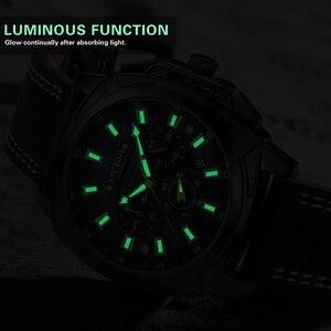 Image 3 - Megir Casual Sport Horloges Voor Mannen Zwart Top Merk Luxe Militaire Lederen Polshorloge Man Klok Fashion Chronograph Horloge