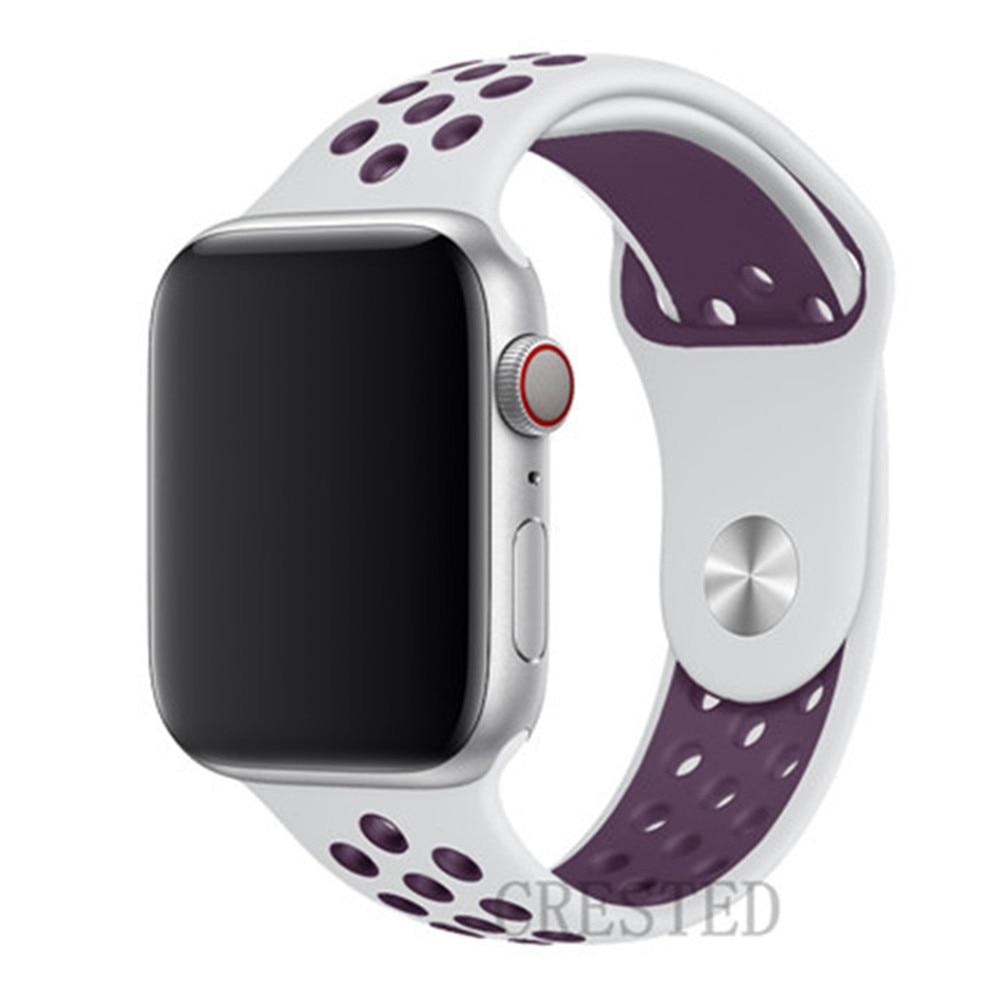 Спортивный ремешок для apple watch band 44 мм/40 мм apple watch 5 4 3 band iwatch band 5 42 мм/38 мм correa браслет ремень аксессуары для часов - Цвет ремешка: white light purple14