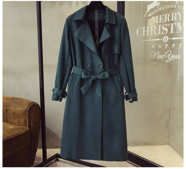 Turn Down Collar Sash Suede Long Trench Coat 5