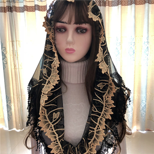 Image 3 - נשים של קתולית רעלה כיסוי ראש ירושלים המוסלמי אלגנטי צעיף צעיף כנסיית קפלת Voiles Dentelle Velas Negra מטפחות שחור