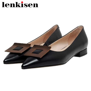 Lenkisen full grain leather pointed toe low heel shoes women metal square buckle office lady shallow slip on gorgeous pumps L25