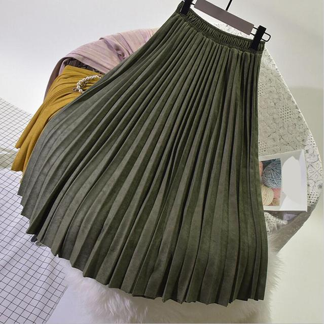 Two Layer Autumn Winter Women Suede Skirt Long Pleated Skirts Womens Saias Midi Faldas Vintage Women Midi Skirt
