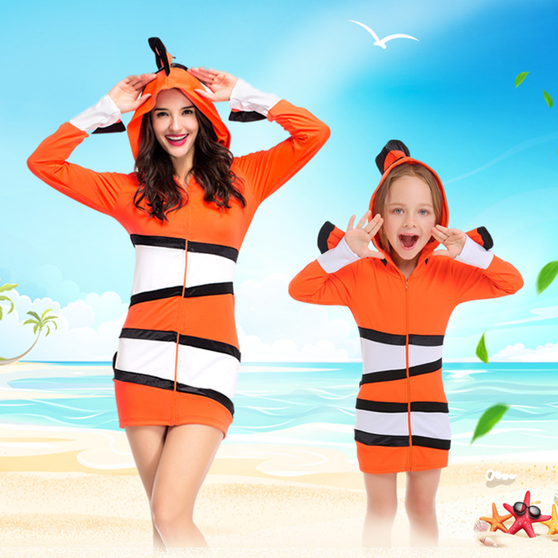 Mother Daugther Son Finding Nemo Costume Mom Me Halloween Beach Wear Clown Fish Hooded Jacket Outfit Kids Animal Cosplay Outfit