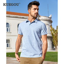 KUEGOU 2020 Summer Cotton Solid Blue Polo Shirt Men Fashion Short Sleeve Slim Fit Poloshirt Male Casual Clothes Brand Top 447