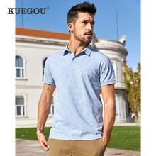 KUEGOU 2020 été coton solide bleu Polo hommes mode à manches courtes coupe étroite Poloshirt homme vêtements décontractés marque haut 447