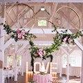 Kranz Girlande Hängenden Gold Eisen Metall Ring Party-Event Baby Dusche Künstliche Blumen Kranz Braut Blume Traum Hoop DIY Decor