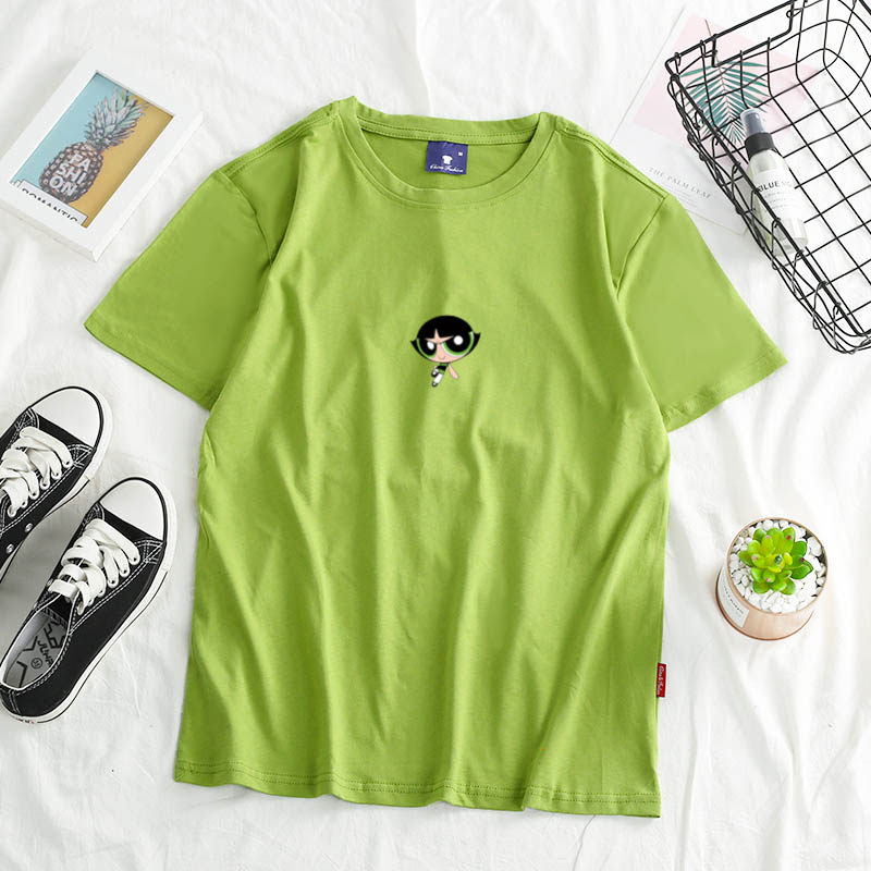 2020 New Powerpuff  Blossom Kawaii Girls Cartoon T-shirt Harajuku Fashion Sweatshirt Pullover Album Shirt Summer Fashion Top