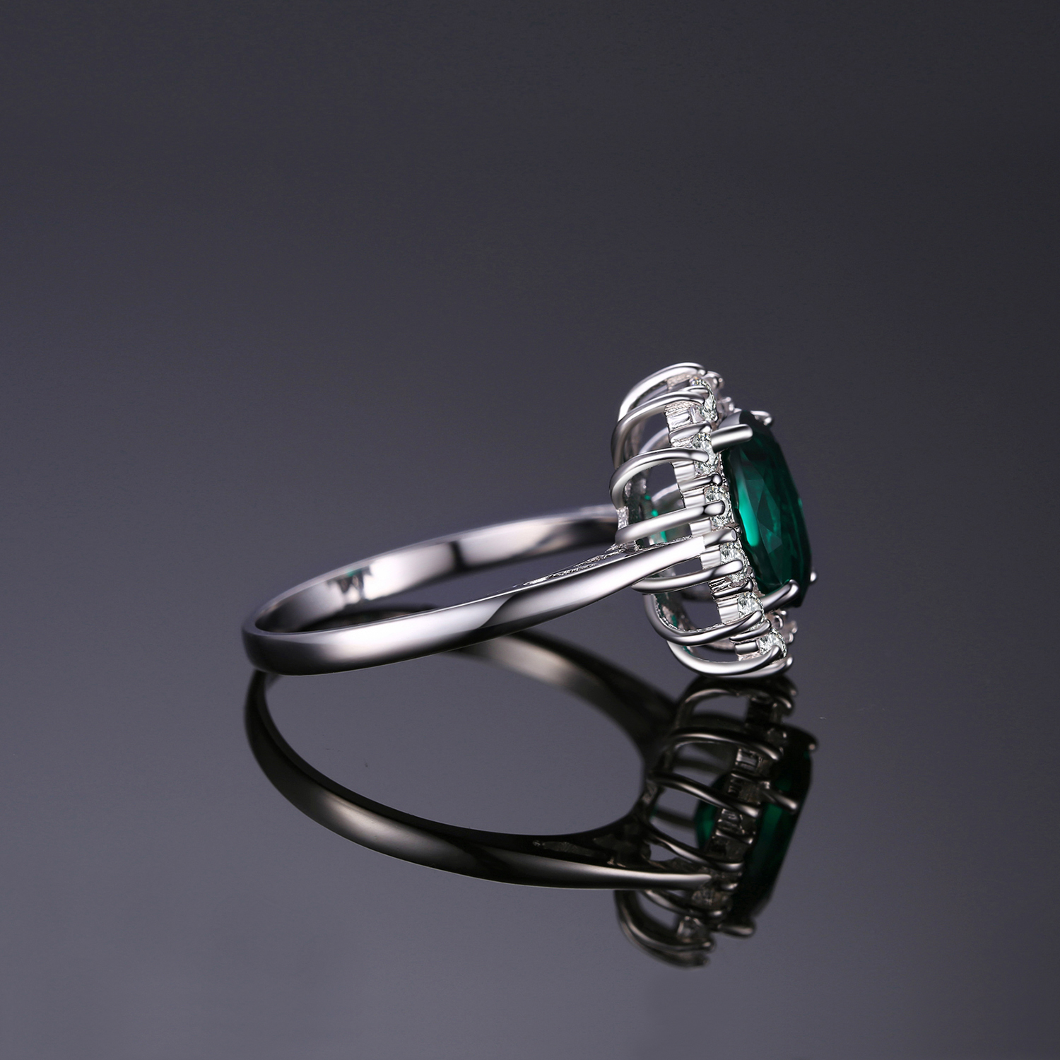 Princess Diana Simulated Emerald Ring 925 Sterling Silver Rings