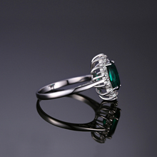 Sterling Silver Simulated Emerald Princess Ring Jewelry