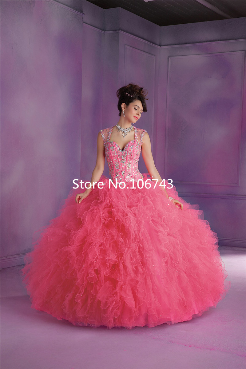Arrival Tulle Ruffled Sheer Back Luxury Beaded Prom Gown Lilac Ball Quinceanera Gown 2018 Vestido Mother Of The Bride Dresses