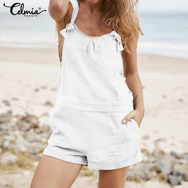 2020 Celmia Vintage Women Short Jumpsuits Summer Sexy Straps Backless Cotton Rompers Casual Loose Buttons Plus Size Overalls 5XL