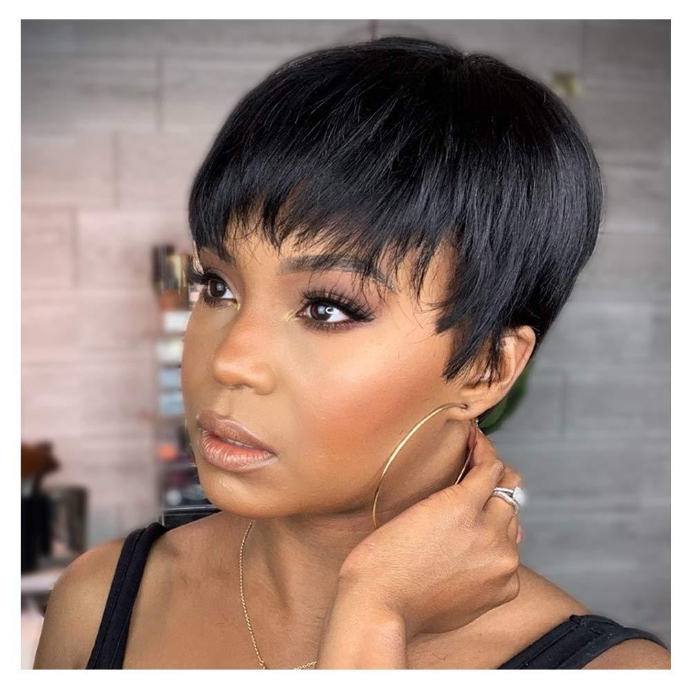 Tinashe güzellik kısa Bob kahküllü peruk Pixie kesim brezilyalı düz insan saçı peruk Remy tam makinesi peruk açık 70 gram