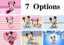 Vinyl Newborn Photocall Minnie Mickey Mouse Dance Polka Dots Custom Photo Studio Background Baby Shower Photography Backdrops(China)