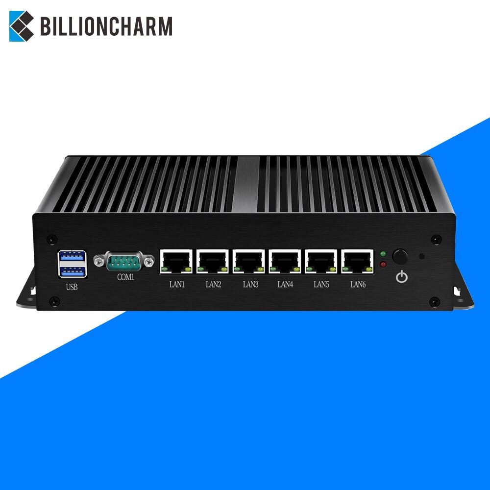 Безвентиляторный мини ПК Intel Core i5 7200U i3 7100U маршрутизатор 6 LAN 211at Gigabit Ethernet 2 * Usb 3,0 RS232 брандмауэр маршрутизатор PFsense Minipc