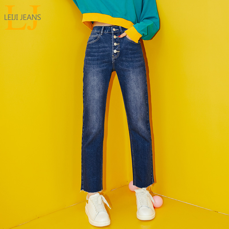 LEIJIJEANS 5XL 6XL New Arrival Four-breasted Loose Vitality Girl Straight Mid-rise Jeans Blue Casual Plus Size Women Jeans 9091