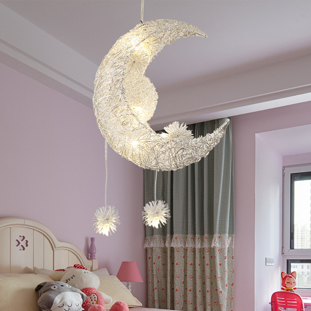 Chandelier Star Moon Children'S Room Warm Chandelier Lamp Lanparas Modernas люстра подвес LumináRia Lanparas Modernas #YL10