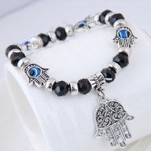 Special price European and American fashion simple crystal pendant personality bracelet with metal palm