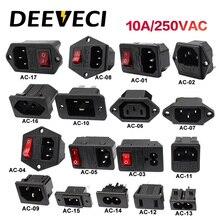 Электрическая розетка переменного тока, 2 контакта, красный светодиод, 250 В, 4p, клавишный выключатель, 10 А, предохранитель, штепсельная вилка, ...