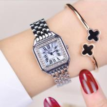 Simple square ring diamond crystal dial waterproof ladies bracelet watch