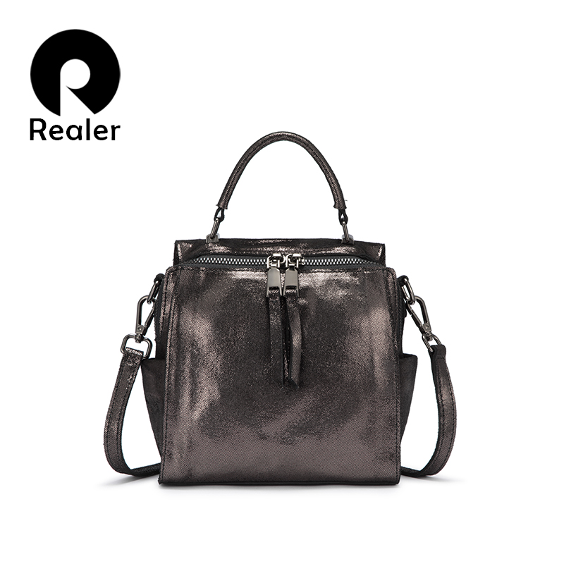 REALER Genuine Leather Handbags Women Shoulder Crossbody Bags Small Totes Ladies Classic Serpentine Pattern Leather Bucket Bag