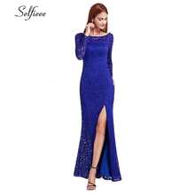 Elegant Mermaid Lace Dress O-Neck Long Sleeve Side Split Bodycon Maix Sexy Autumn Winter Robe Femme Vestidos