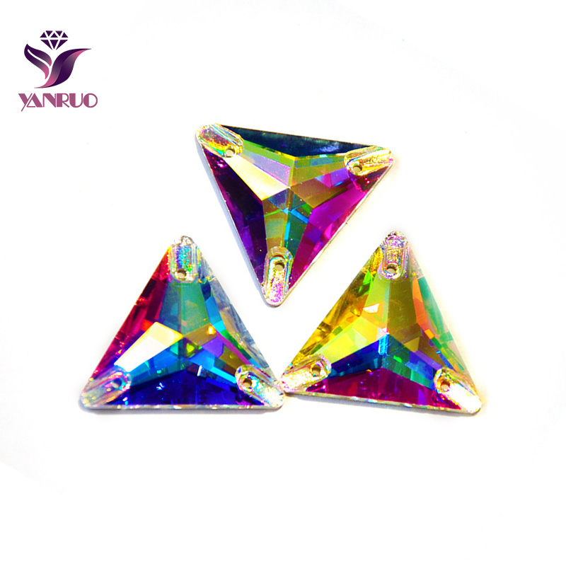 YANRUO 3270 Triangle Glass Rhinestones Sew on Strass Crystal Stones Sewing Clothing Shiny Gilter Gymnastics Dress Needlework|Rhinestones|   - AliExpress