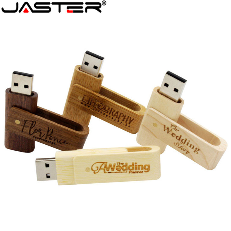 JASTER Hot Selling Creative 4-color Bamboo And Wooden Rotation USB 2.0 4GB/8GB/16GB/32GB/64GB USB Flash Drive 10 PCS Free LOGO