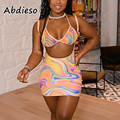 Abdieso Tie Dye Print Sexy Beach Bodycon Dress 2021 Summer Sleeveless Backless Halter Crop Top and Mini Skirts Fashion 2 Pieces