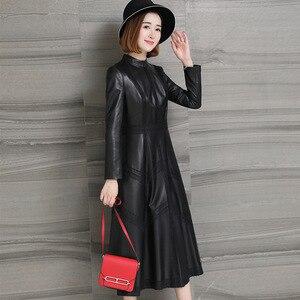 Image 2 - Jesień 2020 nowa skórzana damska długa koronka sukienka wiosna klasyczna skórzana Sleepskin ciepła moda A Line sukienka z okrągłym dekoltem