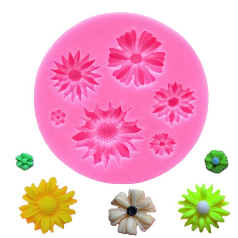 Silicone Mold 3D Cake Decorating Tools Cake Mould DIY Sun Flower Sugarcraft Fondant Chocolate Molds Soap Moulds