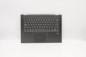 Jianglun palmrest + teclado retroiluminado com impressão digital para lenovo flex 5 1470 80xa cor preta