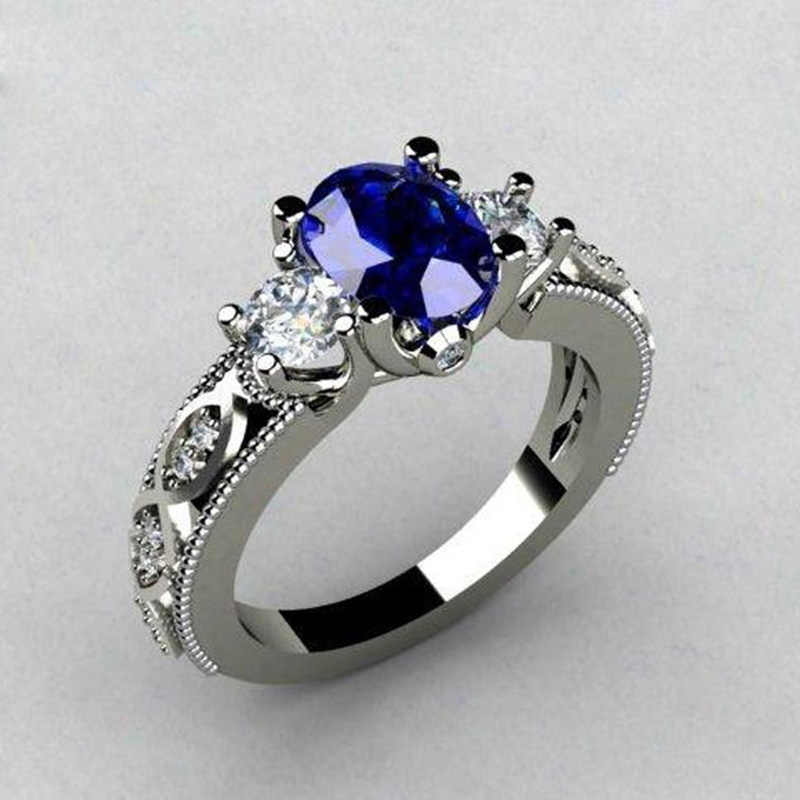 Huitan Oval Blue Stone Wedding Ring Luxury Triple Crystal Stone Prong Setting With Luxury Pattern Band Women Jewelry Ring Band