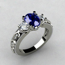 Huitan Oval Blue Stone Wedding Ring Luxury Triple Crystal Prong Setting With Pattern Band Women Jewelry