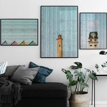 Vintage textura de madera con paisaje de caballo pantalla lienzo pintura carteles y pintas cuadros de pared para sala de estar