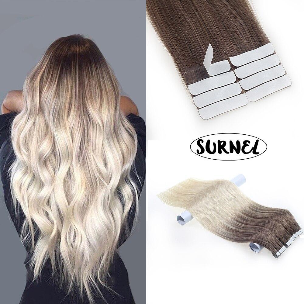 Лента для наращивания человеческих волос балаяж 100% прямые человеческие волосы Remy лента в двойном рисунке хорошее качество кожа уточка бесшовные