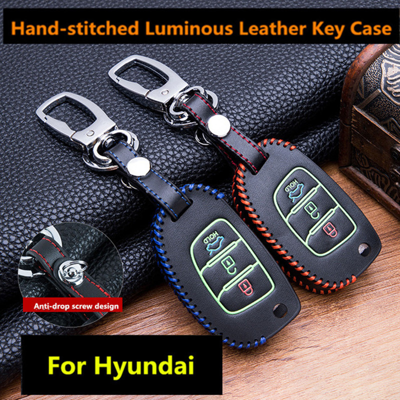 Luminous Leather Car Key Fob Cover Case Set Keychain For Hyundai Tucson Creta Ix25 I10 I20 I30 Verna Mistra Elantra 2015-2018