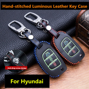 Luminous Leather Car Key Fob Cover Case Set Keychain For Hyundai Tucson Creta ix25 i10 i20 i30 Verna Mistra Elantra 2015-2018(China)