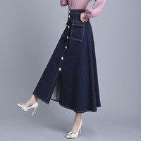 Fashion 2019 Autumn Denim Skirt Maxi Long Women Thick High Waist Aline Skirts 50S Designer Pockets Patchwork Buttons Blue Skirts