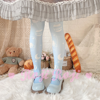 Calcetines Lolita para mujer, calcetines de terciopelo impreso, calcetines hasta la rodilla, Lolita, medias de estilo japonés