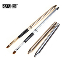 Collapsible Gold Silver Lips Makeup Brush Pen Metal Handle C