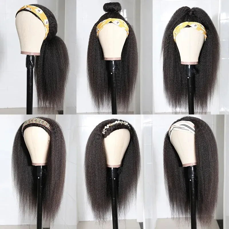 Headbands Wig   Kinky Straight  Glueless Natural Wig With Head Band Full Machine Made Wig 150% Density 3