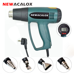 NEWACALOX LCD Display EU 220V 2000W Heat Gun Temperature Adjustable Industrial  Hot Air Gun  Shrink Wrapping Thermal Heater
