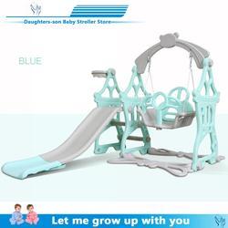 Childrens slide and swing, childrens indoor playground for kindergarten, plastic multi-functional slide for children, three in