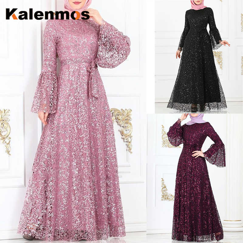Arab Islamic Clothing Dresses Muslim Abaya Maxi Dress Women Sequin Flare Sleeve Ramadan Dubai Kaftan Tunic Long Dress Plus Size