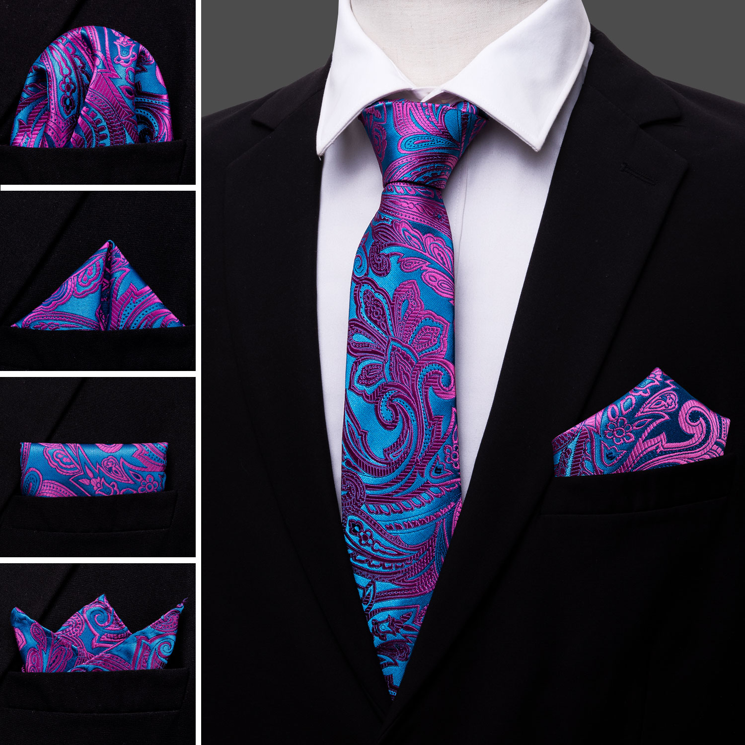 Barry.Wang Tie Set Pocket Square Cufflinks Woven Silk Neckties for Men Formal
