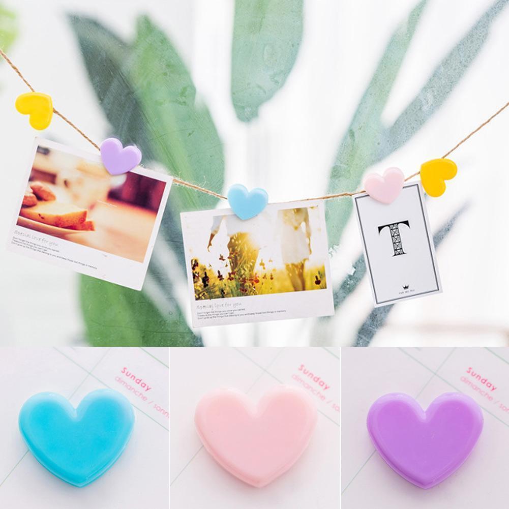 Korean Style Binder Clip Love Shape Cute Girl Heart Clip Love Photo Small Folder Ticket Decorative Student Stationery Paper X4T3