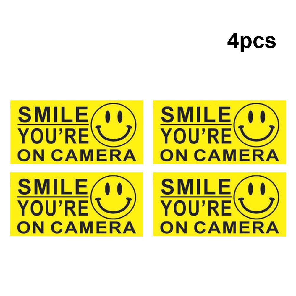 4Pcs Security Sign Car Accessories Smile Face CCTV Warning Sticker Self Adhesive Business Decal Video Surveillance Home PVC