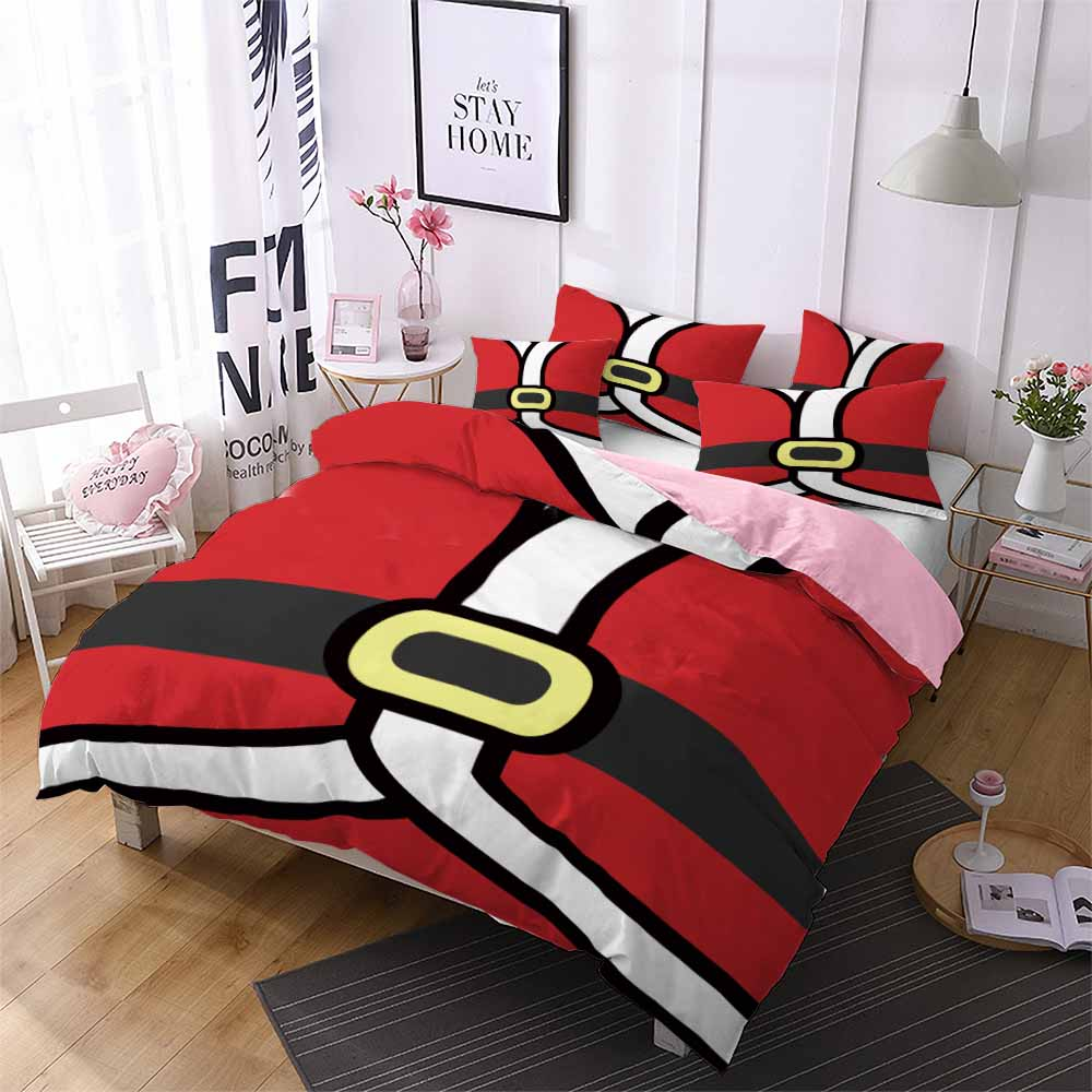 new year kids girls comforter bedding sets single queen bed duvet cover set pillow case red santa clothes home hotel quilt cover